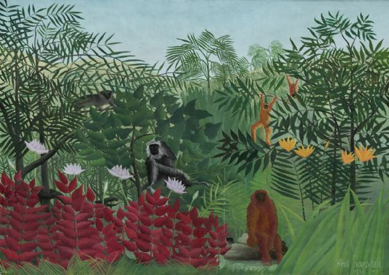 Rousseau, Henri: Tropical Forest with Monkeys. Fine Art Print/Poster. Sizes: A4/A3/A2/A1 (003549)